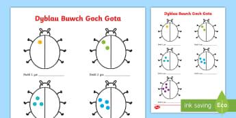 Taflen Weithgaredd Buwch Goch Gota Dyblau at 10 - rhifedd, dyblu, rhifau cyfnod sylfaen, trychfilod, adio, rhif, rhifau,