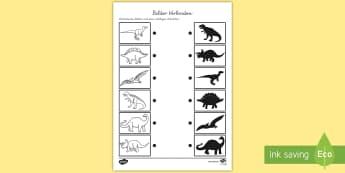Bilder Verbinden - Dinosaur Shadow Matching Worksheet - shadows, silhouettes, match, dinosuar, dinsaur, dinosour, dinas