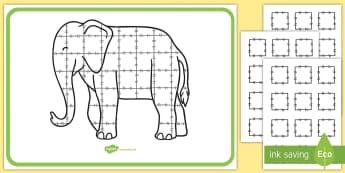 Patchwork Elephant Large Display Poster - Elmer, David McKee, colour, patchwork, pattern, squares.