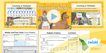 PlanIt Maths Y3 Number and Place Value Lesson Pack Solve Problems (1) - multiples, times tables, steps of, counting on, problem solving, maths mastery