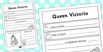 Queen Victoria Significant Individual Writing Frame - writing