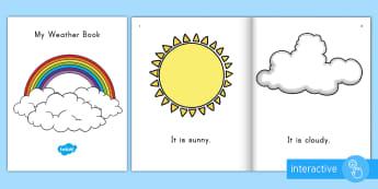 My Weather Book Emergent Reader eBook - Ebook, emergent reader, weather book, weather ebook, weather emergent reader, weather words, weather