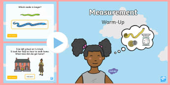 Year 1 Measurement Maths Warm-Up PowerPoint - maths, numeracy, measurement, capacity, length, mass, centimetres, volume, measure, size, weight, wa