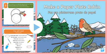 How to Make a Paper Plate Robin Activity PowerPoint English/Portuguese - How to Make a Paper Plate Robin Activity Powerpoint - robin, winter, christmas, christmas activity,