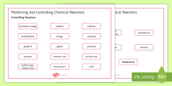 OCR Gateway Combined Science Monitoring and Controlling Chemical Reactions Word Mat - Word Mat, gcse, keywords, controlling reactions, equilibria