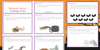 Halloween Multiplying Fractions by Whole Numbers Challenge Cards - Halloween, math, fractions, cards, challenge cards