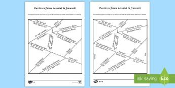 Forme de salut și mic ghid de conversație Puzzle Română/franceza - franceză, saluturi în franceză, limbi, comunicare în franceză, Romanian