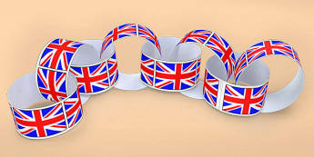 Union Flag Paper Chain - union, flag, paper, chain, paper chain