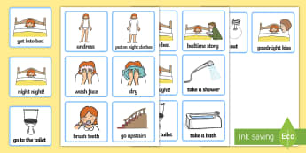 Daily Routine Cards (Getting Ready For Bed) - getting ready for bed, bed, bedtime, Visual Timetable, SEN, Daily Timetable, School Day, Daily Activities, Daily Routine KS1, good night, bedtime story, brush teeth