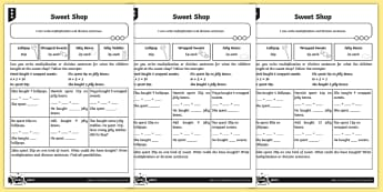 Writing Multiplication and Division Number Sentences Differentiated Activity Sheets - Multiplication and Division, times tables, problem solving, multiplication tables, multiplication fa