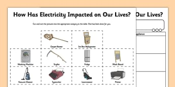 Impact of Electricity Worksheet / Activity Sheet - electrictiy, electric, science, impact, progress, inventions, inventor, new, , worksheet