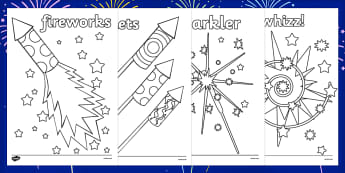 Guy Fawkes Night Colouring Sheets - fireworks, new zealands, guy fawkes