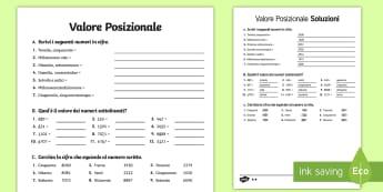Valore Posizionale Esercizi Differenziati Attività - valore, posizionale, esercizi, matematica, differenziati, numeri, matematica, italiano, italian, mat