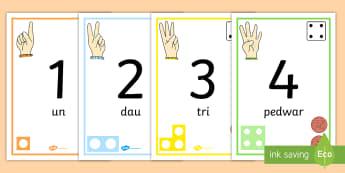 Llinell Rhif 1-30 yn dangos Siapiau Rhif - cornel mathemateg, welsh, number line, posters