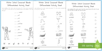 Winter Initial Consonant Blends Differentiated Activity Sheets - Winter, consonant blends, consonant clusters, phonics, initial sounds, initial blends