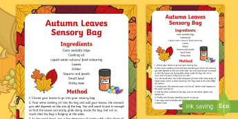 Autumn Leaves Sensory Bag - senses, PSHE, feel, touch, describing, speaking and listening, early years, KS1, key stage 1