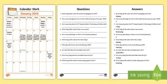 Problem Solving - Calendar Work January 2018 Activity Sheet - Calendar, Time, Maths, Problem, Solving, Irish Events,Irish, worksheet