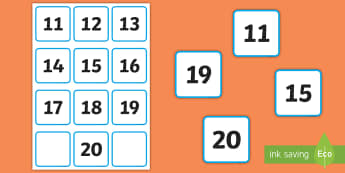11 to 20 Small Number Cards - Mathematics, Maths, Number Recognition, Counting, Groups, Sets, Sequencing, numbers to 10.