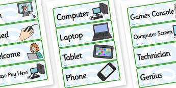 Computer Shop Role Play Labels - computer repair shop, role play, labels, role play labels, computer repair shop labels, computer reapir shop role play