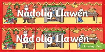 Merry Christmas Display Banner Welsh - christmas, welsh, nadolig, display, welsh display, banner