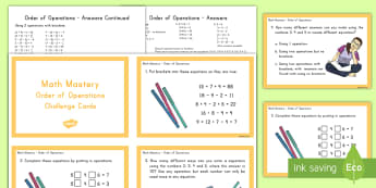 Order of Operations Math Mastery Challenge Cards - math, challenge cards, flashcards, order of operations, addition, subtraction, division, multiplicat