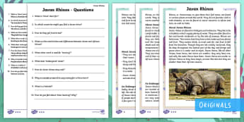 Year 2 Javan Rhinos Differentiated Reading Comprehension Activity - Children's Books, Ronald the Rhino, children's book, syllables, endangered, critically, extinct, I