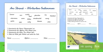 Am Strand Wortarten bestimmen Arbeitsblatt - Sommer, Jahreszeiten, Strand, Wortarten, Adjektiv, Verb, Nomen, Kl.1/2, summer, seasons, beach, part