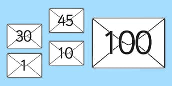 Numbers 0 to 30 on Envelopes - EYFS, Early Years, Maths, number, counting, postman, post office