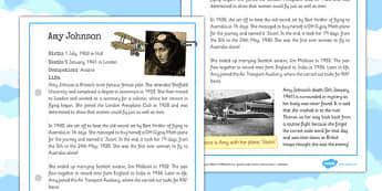 Amy Johnson Significant Individual Fact Sheet - amy, johnson