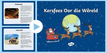 Kersfees Oor Die Wêreld PowerPoint - Desember, feite, lande, tradisies, Kersvader, Kersboom