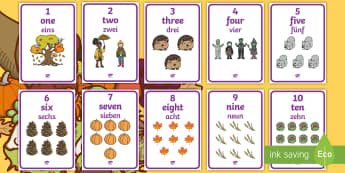 Autumn Themed 1 to 10 Word and Number Display Posters English/German - EAL, German, Autumn Themed 1 to 10 Word and Number Display Posters -  autumn, numeracy, counting, nu