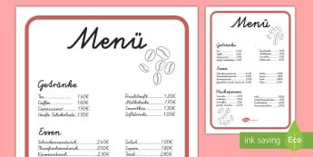 Café Menü Poster für die Klassenraumgestaltung - Kaffee trinken, Kuchen essen, Rollenspiel, zusammen spielen, Gruppenspiel, Café, Cafe,German