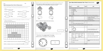 Year 4 Maths Assessment: Measurement Term 3 - maths, assessment, year 4, measurement