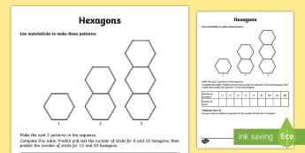 Hexagons Maths Investigation Worksheet / Activity Sheet - hexagon, sides, problem solving, sticks, challenge, bees,tessellate, worksheet