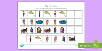 Toy Patterns Worksheet / Activity Sheet - Cut and Paste, Math Activity, toy unit, AB patterns, cutting skills, worksheet