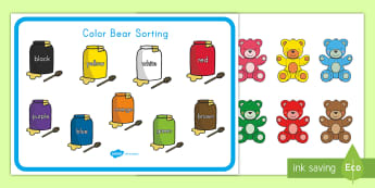 Color Bear Sorting Activity - colors, color bear, color sorting, activity mat, color activity Mat, color bear activity mat