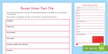 Soviet Union Research Fact File - Cold War, USA, United States, Russia, Soviet Union, Conflicts, Wars, American History, worksheet