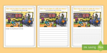 Supports imagés pour la production d'écrits : La salle de classe - Écriture, Écrire, Français, Cycle 2, Cycle 1, Writing, classe, école,