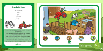 Grandad's Farm Can You Find...? Poster and Prompt Card Pack - Aistear, Exploring My World, Story, Farm, Animals, Tractor, Pig, Cow, Chicken, Literacy, Writing,,Ir