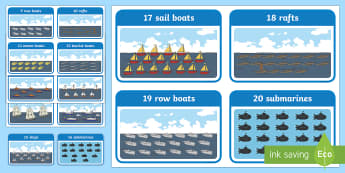 Sea Transport Themed 0  20 Counting Cards - Word and Number 0 100 Flash Cards - visual, aid, numbers, flash, numbes, nubers, flashcard, counting