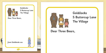 Goldilocks to the Three Bears Letter Writing Frames - Goldilocks, letter, activity, writing aid, traditional tales, tale, fairy tale, three bears, porridge, cottage, beds