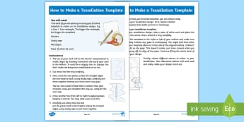 How To Make A Tessellation Template   Step-by-Step Instructions - tessellation, tessellations, MC Escher, Escher, M.C Escher, tessellation template, tessellation desi