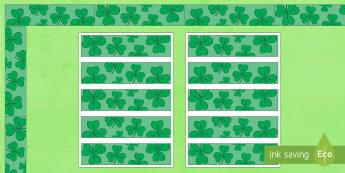 St Patrick's Day Display Borders - KS1& 2 St Patrick's Day UK March 17th 2017, St Patrick, green, clover, Irish, Ireland, display, bor