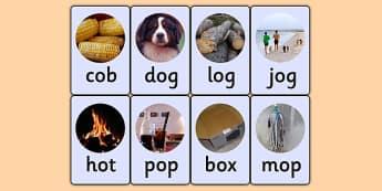 CVC Photo Word Cards o - cvc,  word cards, photo word cards, word flash cards, flash cards, words, key words, keywords, key word cards, photo cards, cards