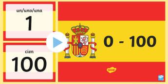 Basic Spanish Numbers 100 PowerPoint - Basic Spanish Numbers 0-30 PowerPoint - basic vocabulary, basic, vocabulary, numbers, 0-30, 30, powe