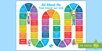 All About Me Board Game English/French - All About Me Board Game - all about me, board game, activity, game, ourselves,all about me, EAL Fren