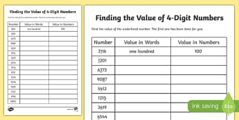 Place Value Finding the Value of 4-Digit Numbers Activity Sheet-Scottish, worksheet