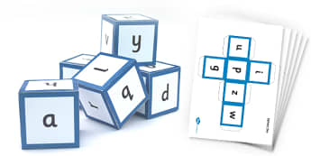 Alphabet Sounds Dice Nets - phase one, sounds, phonics, phases