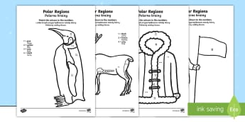 Polar Regions Colour by Number Counting Activity Sheet English/Polish - Polar Regions Colour by Number Counting Activity Sheet - polar regions, colour by number, colour, nu