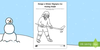 KS1 Design a Winter Olympics Ice Hockey Outfit Activity Sheet - Olympic Games, Sportswear, Winter sports, Jersey, Ice Hockey Players, worksheet